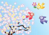 Птицы и цветущие деревья. — Cтоковый вектор