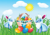 Easter eggs and rabbits. — Stock Vector