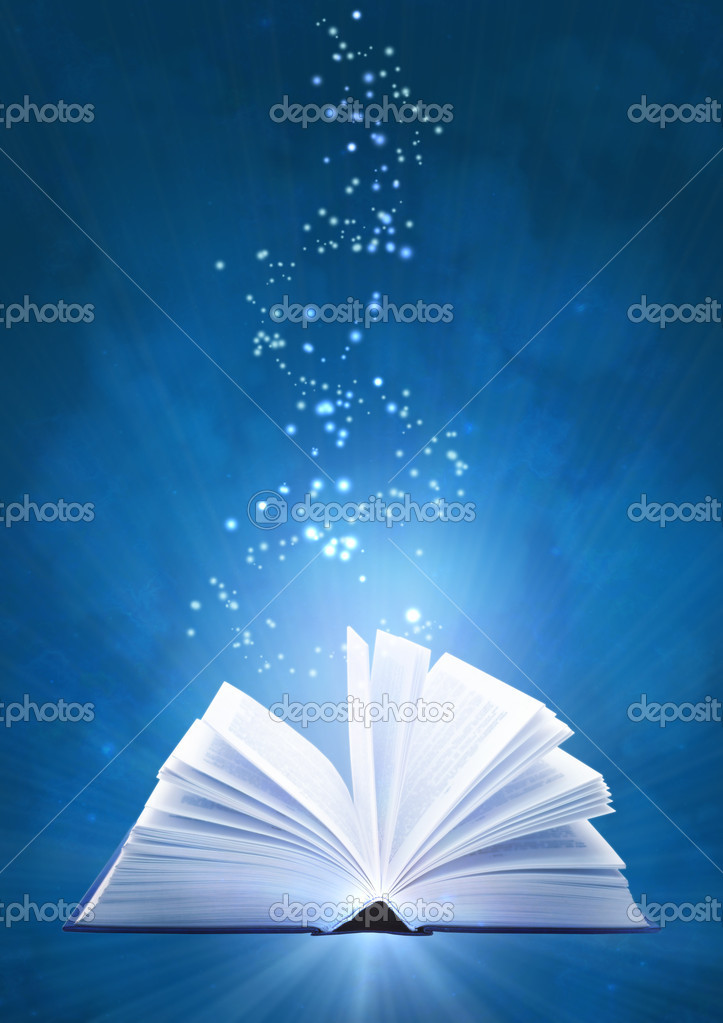 Vertical background of blue color with magic book  Stock Photo #1046152