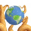 Stock Photo: Tentacles of a monster, holding a Earth