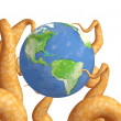 Tentacles of a monster, holding a Earth — Stock Photo