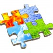Puzzle with four elements of nature — Stock Photo