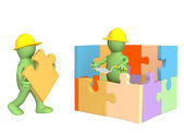 3d puppets building the house — Photo
