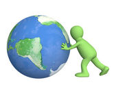 3d puppet, pushing Earth — Stock Photo