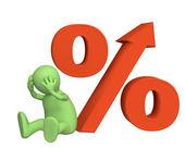 Verhoging van de rentevoet onder cred — Stockfoto