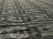 Conceptual image - dollars in the sea of oil — Stock Photo