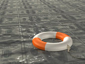 Lifebuoy in the sea of oil — Stock Photo