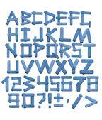 Alfabet - brieven van een stof jeans — Stockfoto