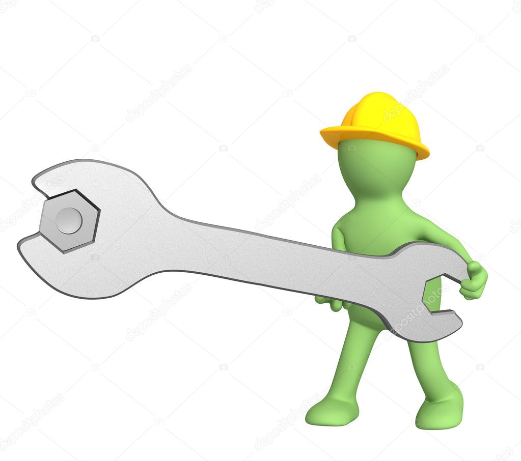 3d worker - puppet, twisting a nut — Stock Photo #1055488