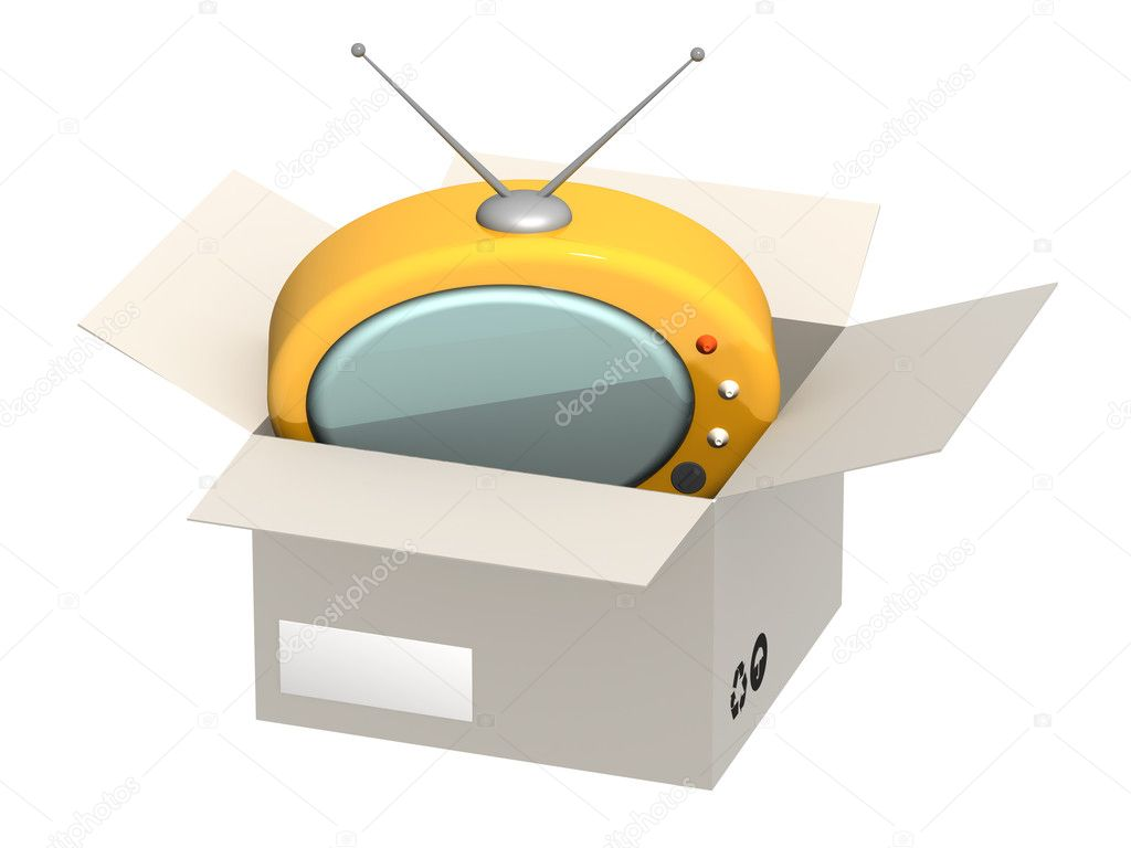 Retro TV in open box — Stock Photo #1057339