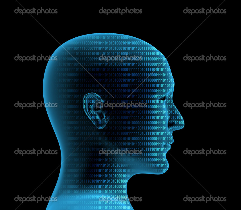 Human profile from a binary code — Stock Photo #1057457