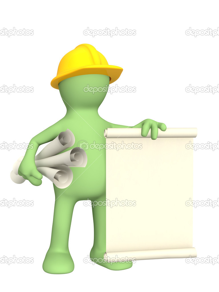 Puppet - builder with rolls of documents — Stock Photo #1057881