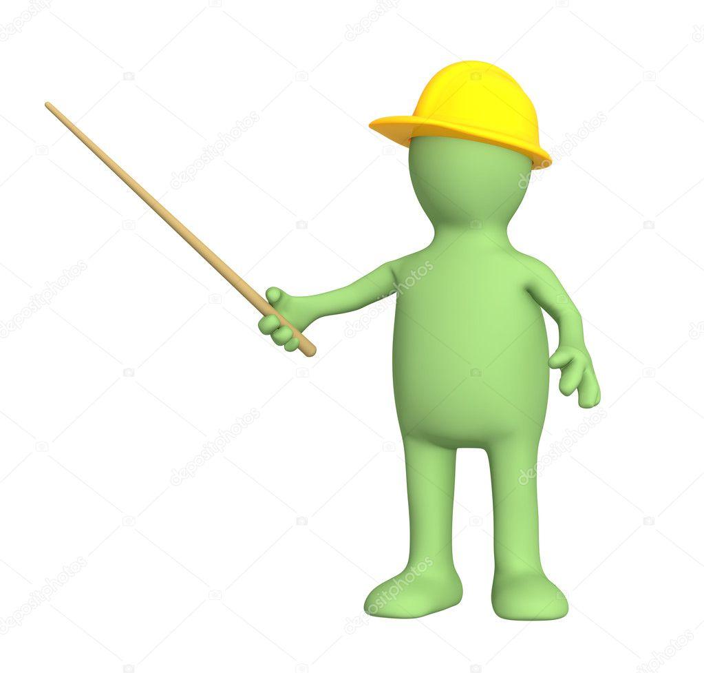 Boneco 3d builder com picareta foto stock frenta Www builder