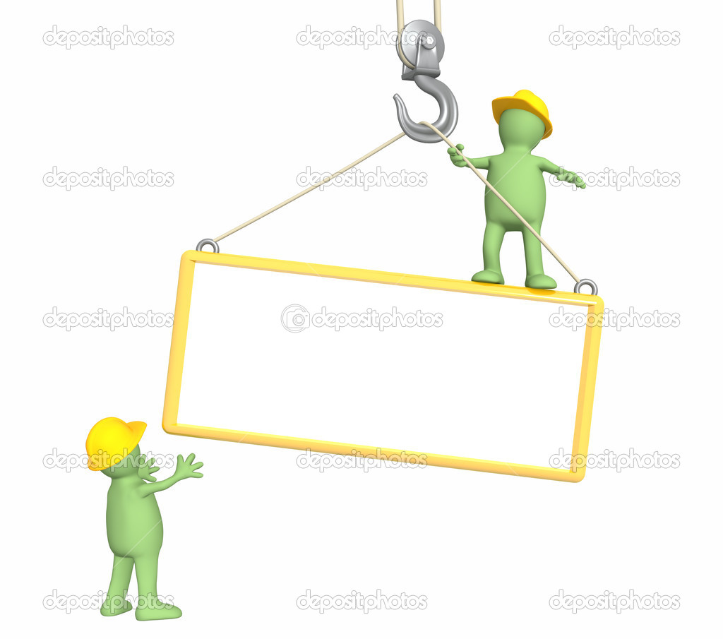 Builders - puppets, lowering a frame on a hook — Stock Photo #1059776
