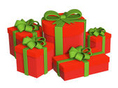 Five boxes with gifts, fastened by tapes — Stock Photo