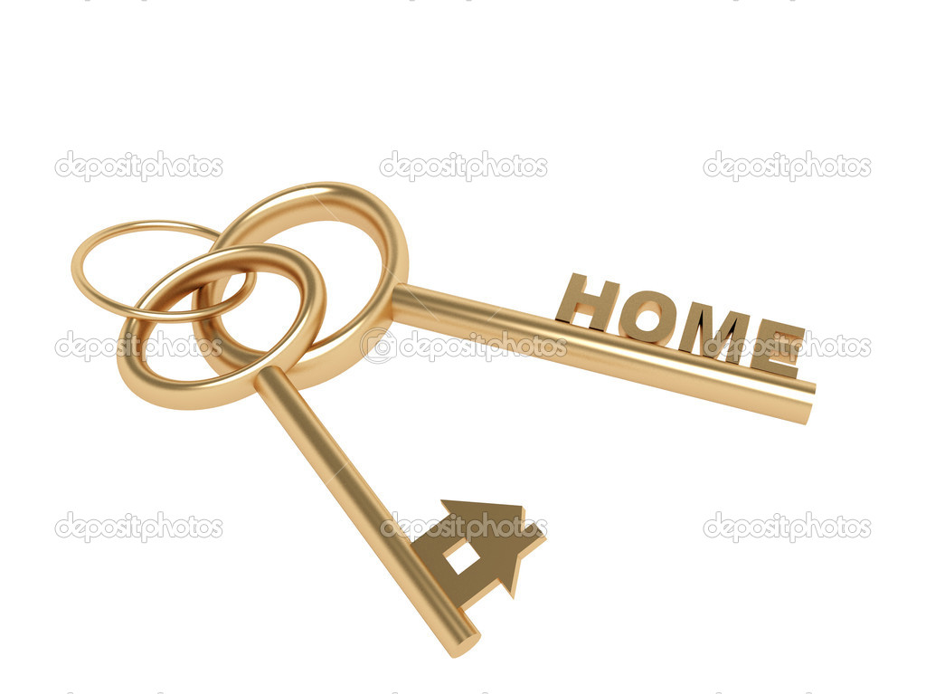 Two 3d gold keys with symbol home. Objects over white  Stock Photo #1061023