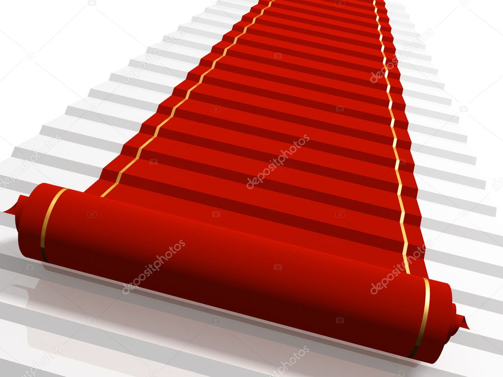 Conceptual 3d image - red carpet  — Stock Photo #1061604