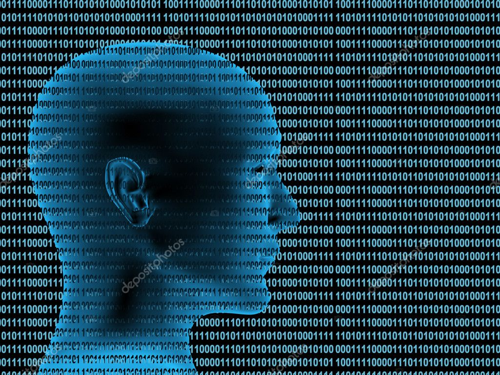 Human profile from a binary code — Stockfoto #1061681