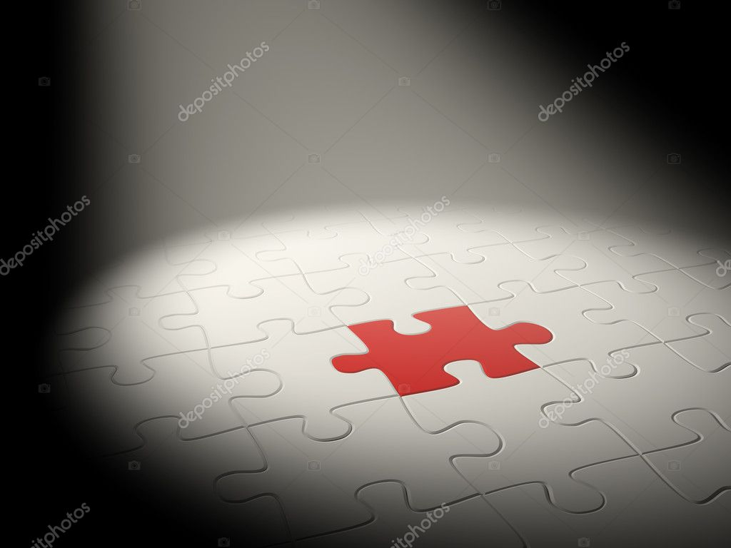 3d puzzles of white and red color   Stock Photo #1062413
