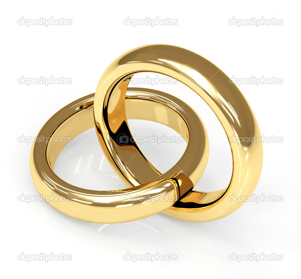 Two 3d gold wedding ring. Objects over white — Stock Photo #1071279