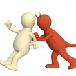 Demon, pushing the puppet — Stock Photo