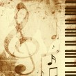 Background with musical symbols - Stock Photo