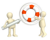 3d puppets with a lifebuoy — Stock Photo