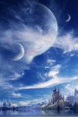 пейзаж в фэнтези планеты — Стоковое фото