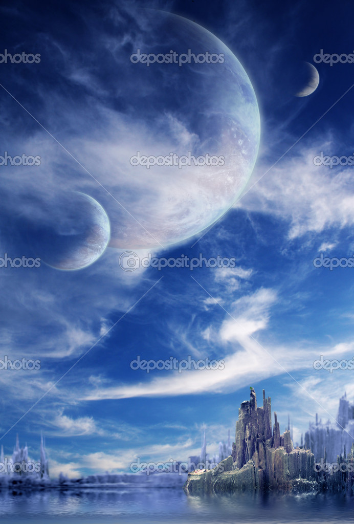 Collage - landscape in fantasy planet — Stock Photo #1918361