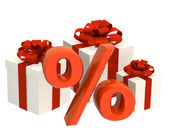 Percentage and gifts — Stock Photo