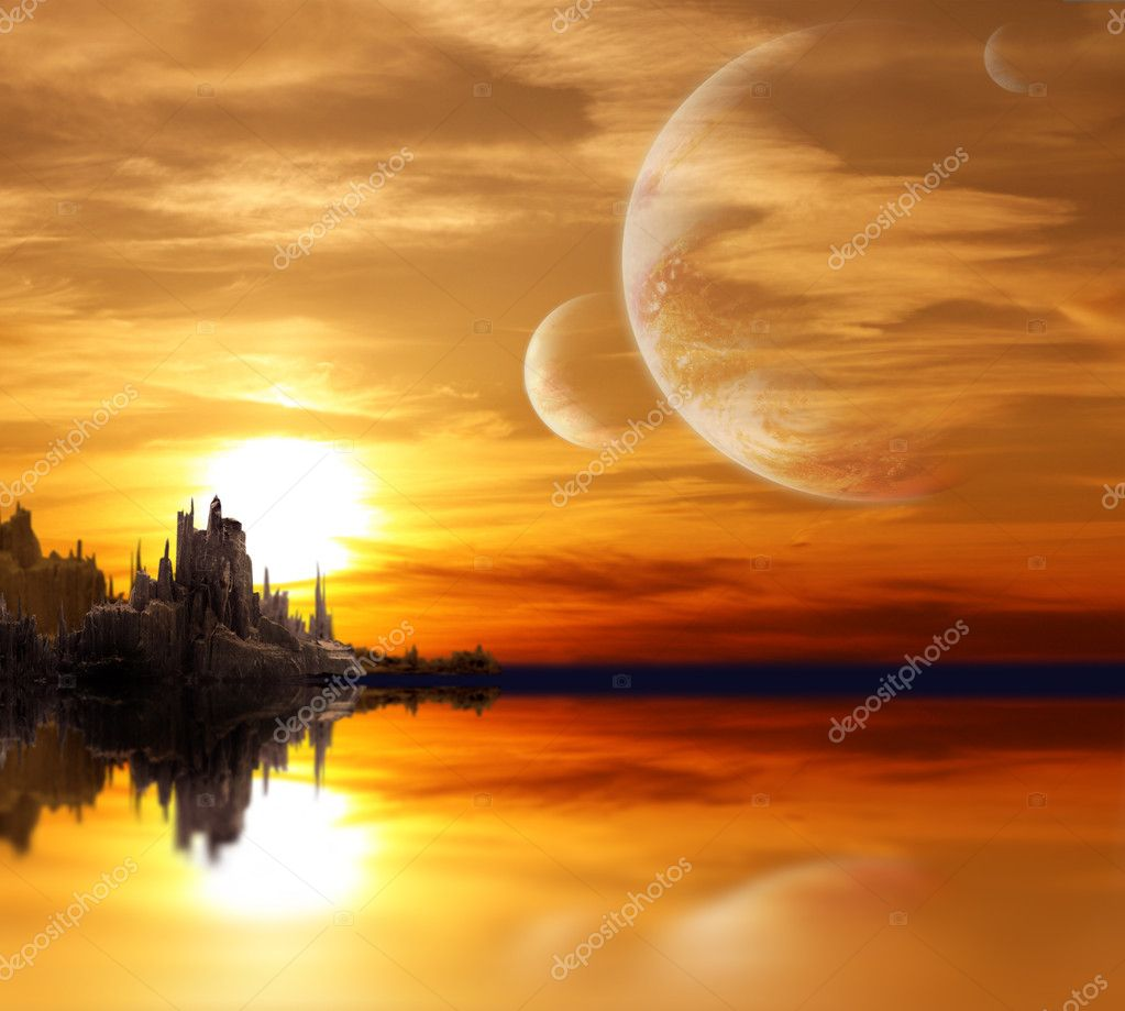 Collage - landscape in fantasy planet — Stock Photo #2008801