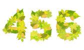 Čísla se zelenými listy — Stock fotografie