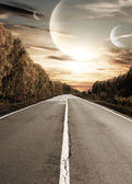 Road to surreal sunset — Stock Photo