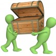 Two puppets with wooden box — Stockfoto