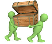 Two puppets with wooden box — Stock Photo