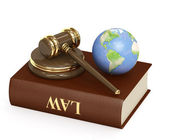 Judicial 3d gavel and Earth — Photo