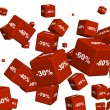 Red boxes with the goods at a discount — Stock Photo #2260955