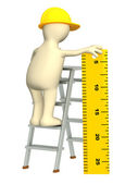 3d puppet - builder with ruler — Stock Photo