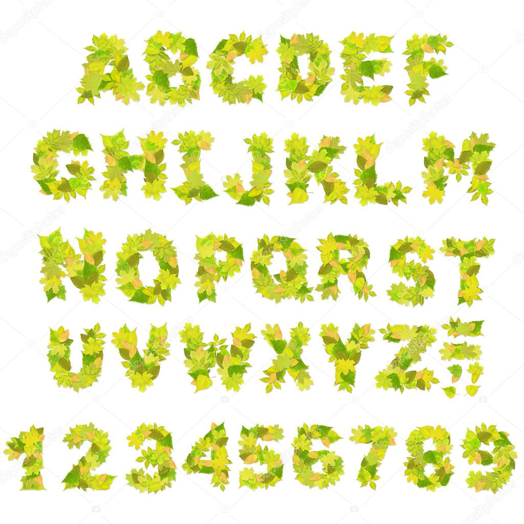 Alphabet - letters with a green leaves — Stock Photo #2492042