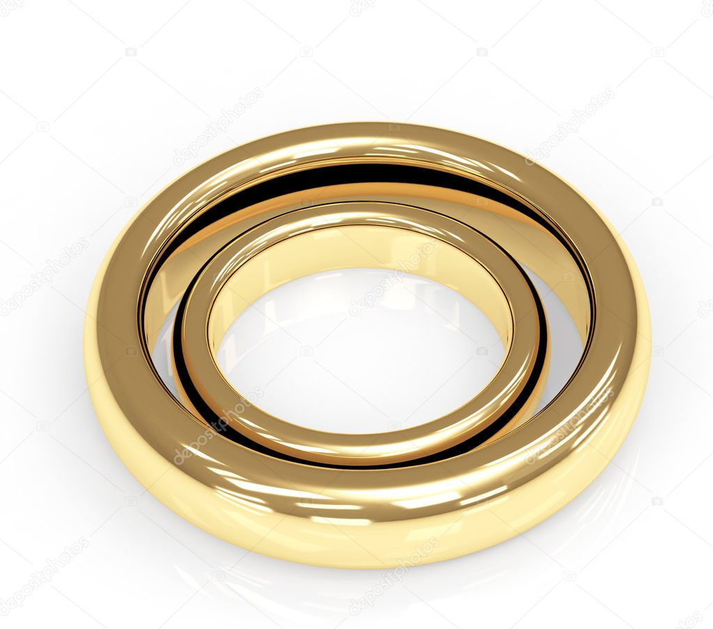 Two 3d gold wedding ring. Objects over white — Stock Photo #2561062