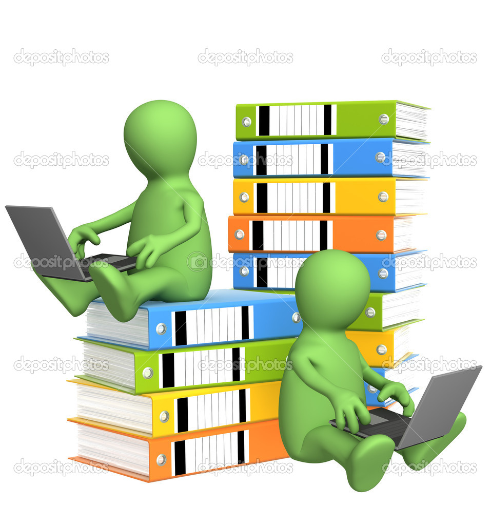 All-out effort. Two puppets with folders and laptops  Stock Photo #2561261