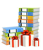Gifts and folders — Stock Photo
