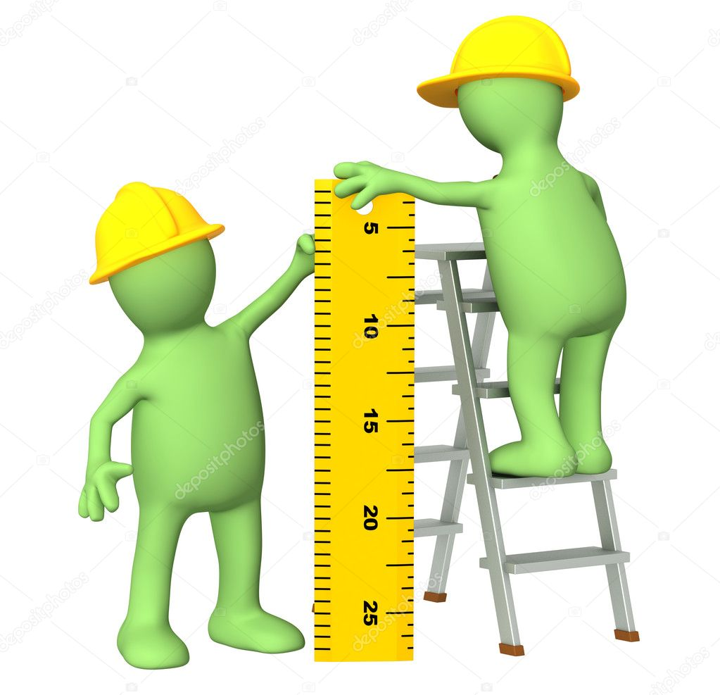 3d builders with ruler - over white — Stockfoto #2680454