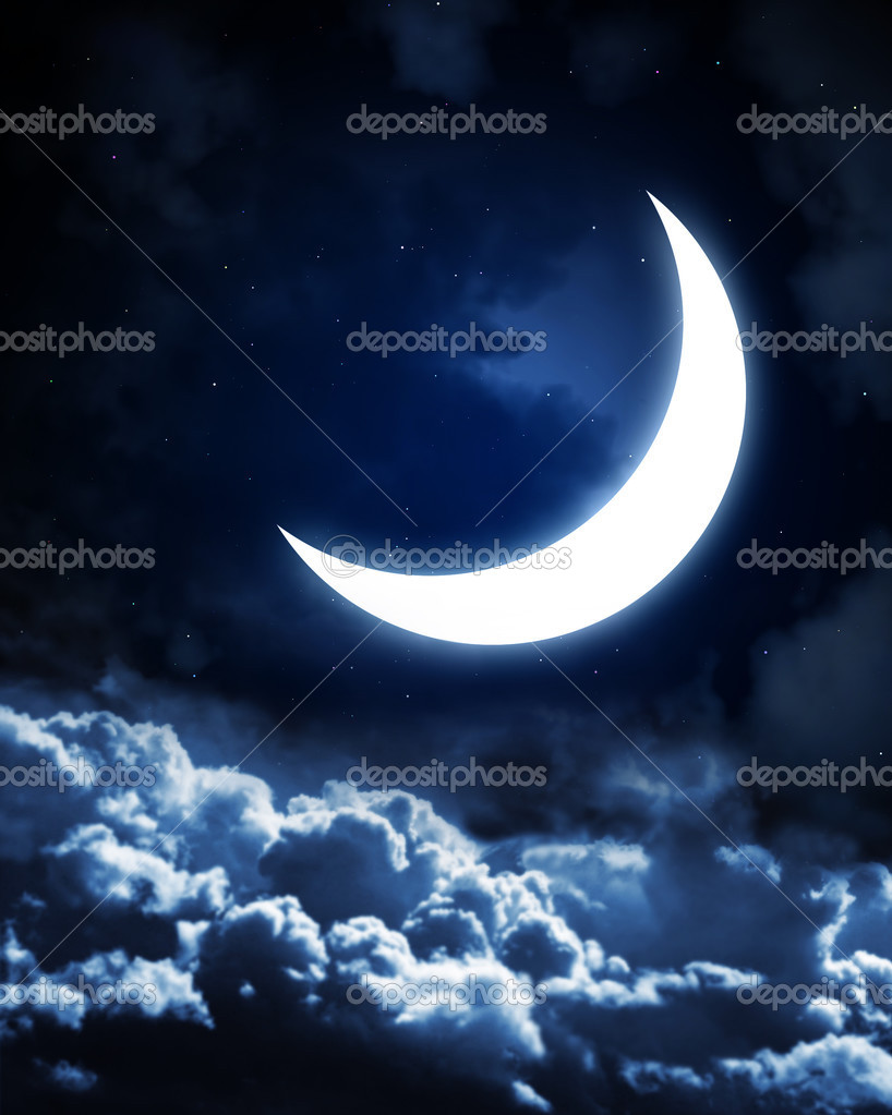 Night fairy tale - bright moon in the night sky  Foto de Stock   #2683262