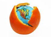 Earth in an orange — Stock Photo