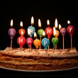 Stock Photo: Happy birthday candles on a cake