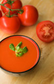 Cold Spanish tomato-based soup gazpacho — Stock Photo