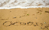 Word Ocean written on the sand — Stock Photo
