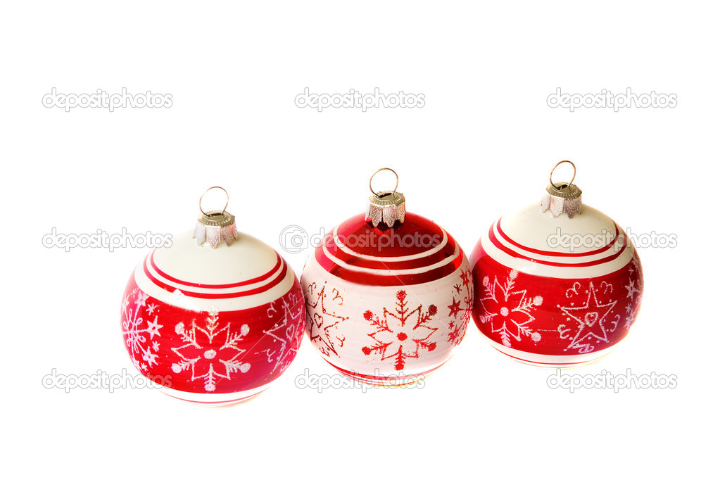 Christmas mood. Three christmas balls isolated on white — Stock Photo #1055824