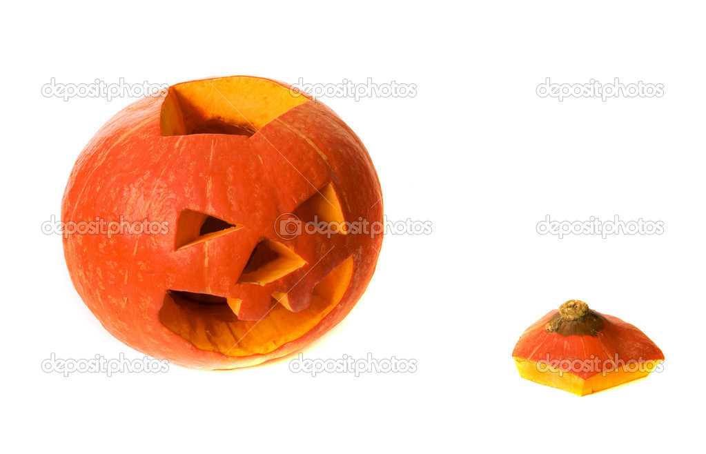 Halloween pumpkin with scary face isolated on white — Stock Photo #1055928